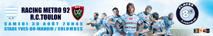 banni�re Racing metro vs R.C Toulon - samedi 30 aout 20h45